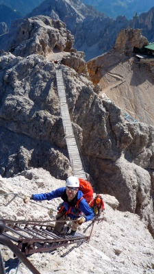 Me on the Via Ferrata Ivano Dibona in the Cristallo range of the Dolomites, Italy.