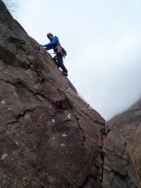 Me climbing Pinnacle Ridge, Polldubh crags, Glen Nevis, Scotland
