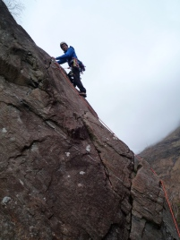 Me climbing Pinnacle Ridge, Polldubh crags, Glen Nevis, Scotland