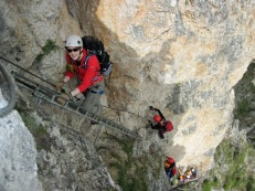 Climbers on the Via Ferrata Sandro Pertini