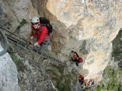 Climbers on the Via Ferrata Sandro Pertini