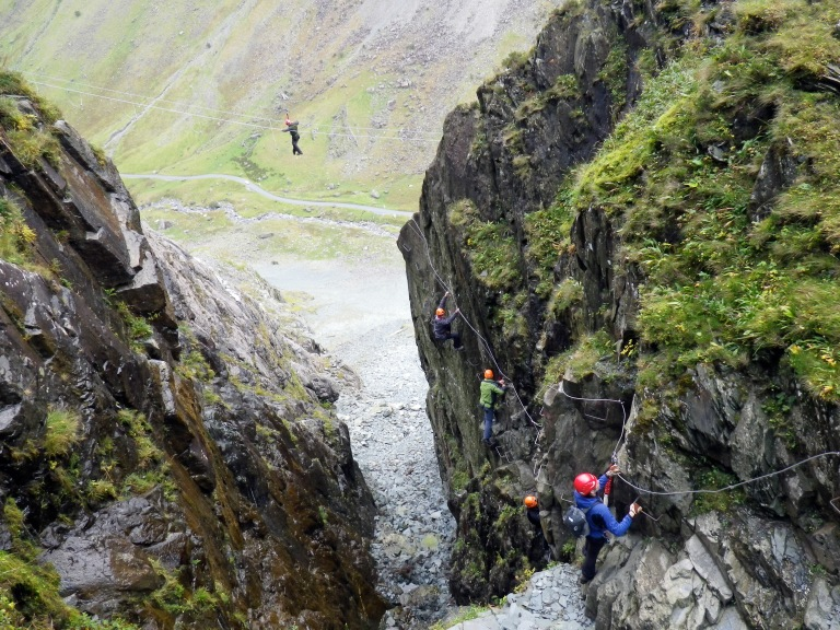 The gully and the Burma bridge on the Honister Slate Mine Via Ferrata.