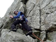 Me climbing on Holyhead Mountain.