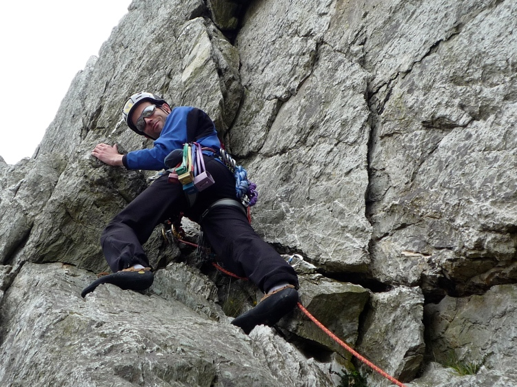 Me climbing on Holyhead Mountain.