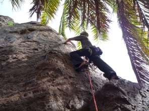 Me climbing on Ninja Troll buttress at Sorrueda on Gran Canaria. This climb doesn't have a name, the guidebook just refers to it as number 8 on this buttress.