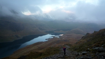 Me on the last leg of the Snowdon Horseshoe. trying to finish the walk before it gets dark.