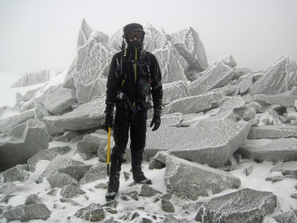 Me on the summit of a rime covered Foel Grach in Snowdonia National Park.