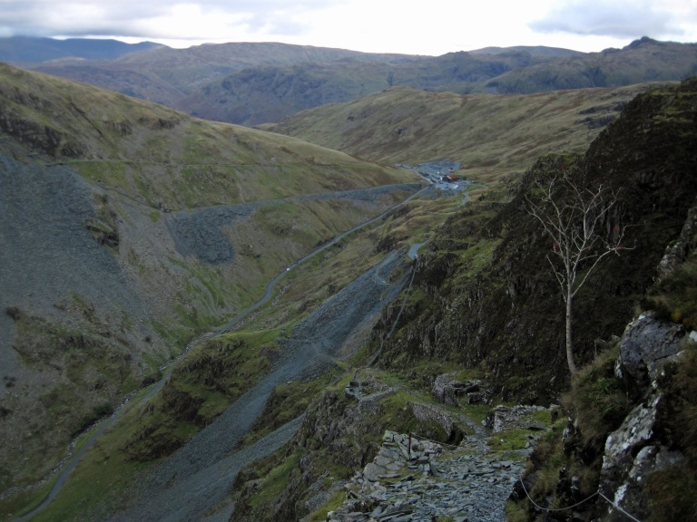 The view of Honister Pass from near the top of the via ferrata. It's from roughly where this picture was taken that the zip-wire to the Pass was planned to start.