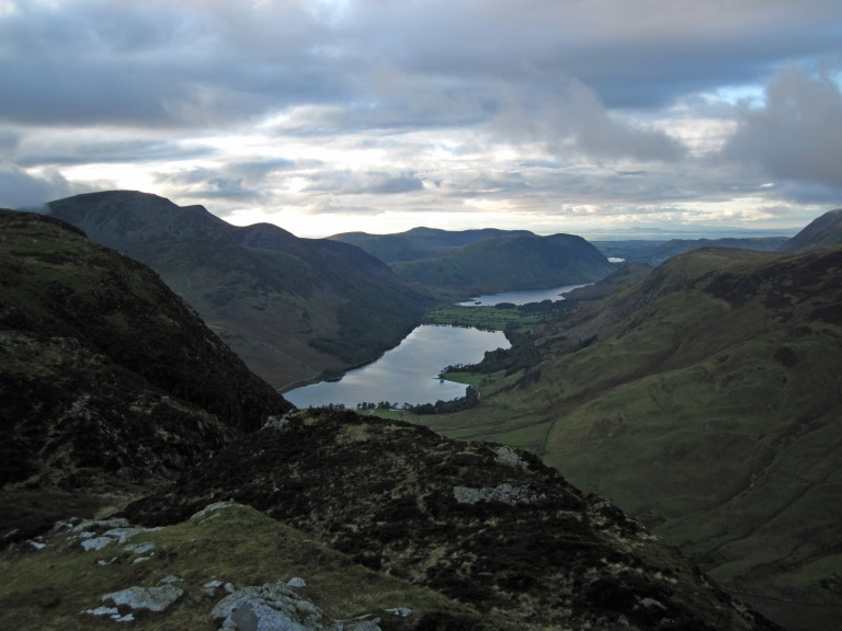 The view of Buttermere from the summit of Fleetwith Pike.