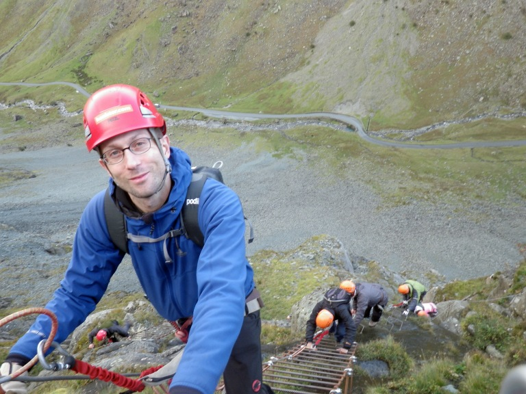 Me on the Honister Slate Mine Via Ferrata Xtreme.