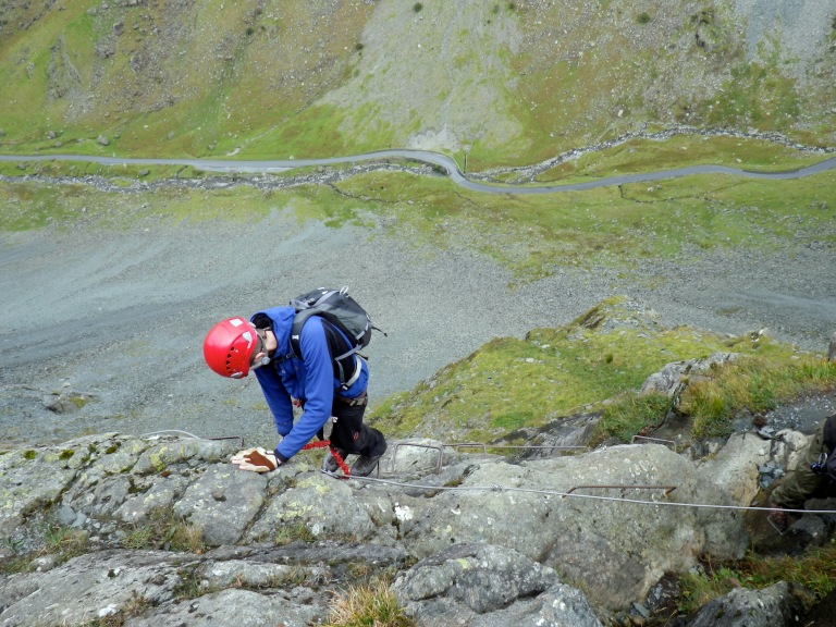 Me climbing on the Honister Slate Mine Via Ferrata.