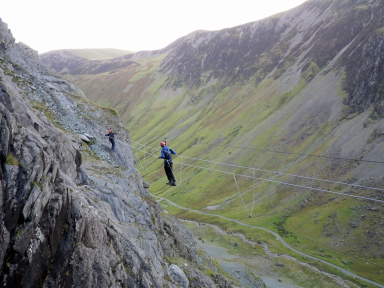 Me crossing the wire bridge on the Honister Slate Mine Via Ferrata.