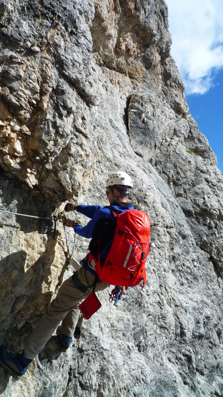 Climbing the via ferrata Piz da Lech.