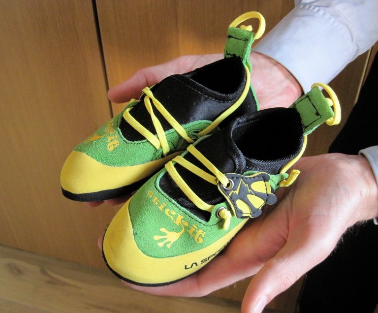 The La Sportiva Stickit kids' rock shoes that I won.
