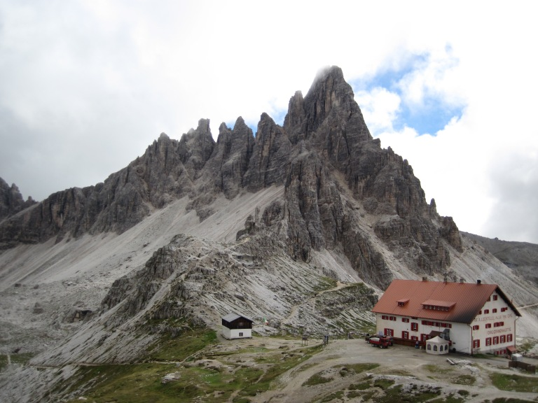 Monte Paterno and the Rifugio Tre-Cime-Locatelli.