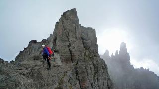 Me climbing the Via delle Trincee.