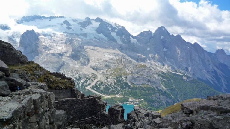 WW1 ruins and a view of Marmolada from the Via delle Trincee.