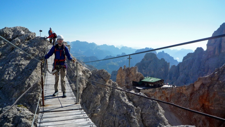 Me on the suspension bridge on the Via Ferrata Ivano Dibona.