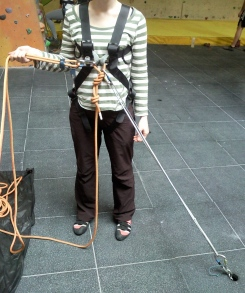 How I'm anchored while belaying a leader.