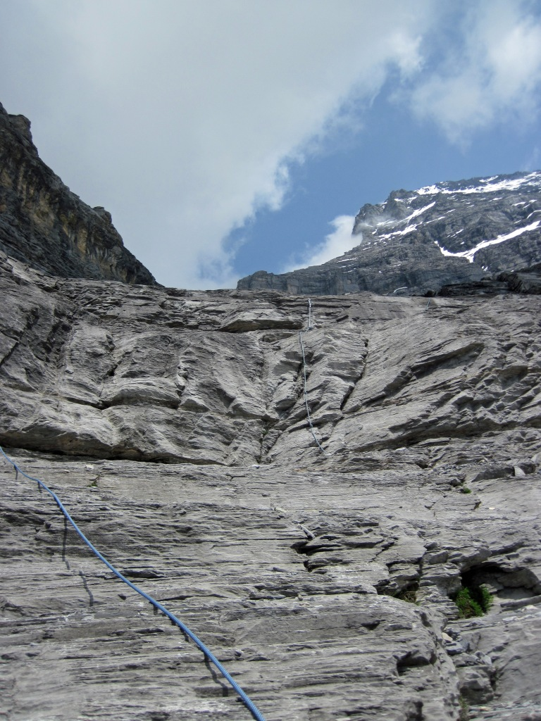The descent route from the Rotstock, with some of the fixed ropes and the west face of the Eiger.