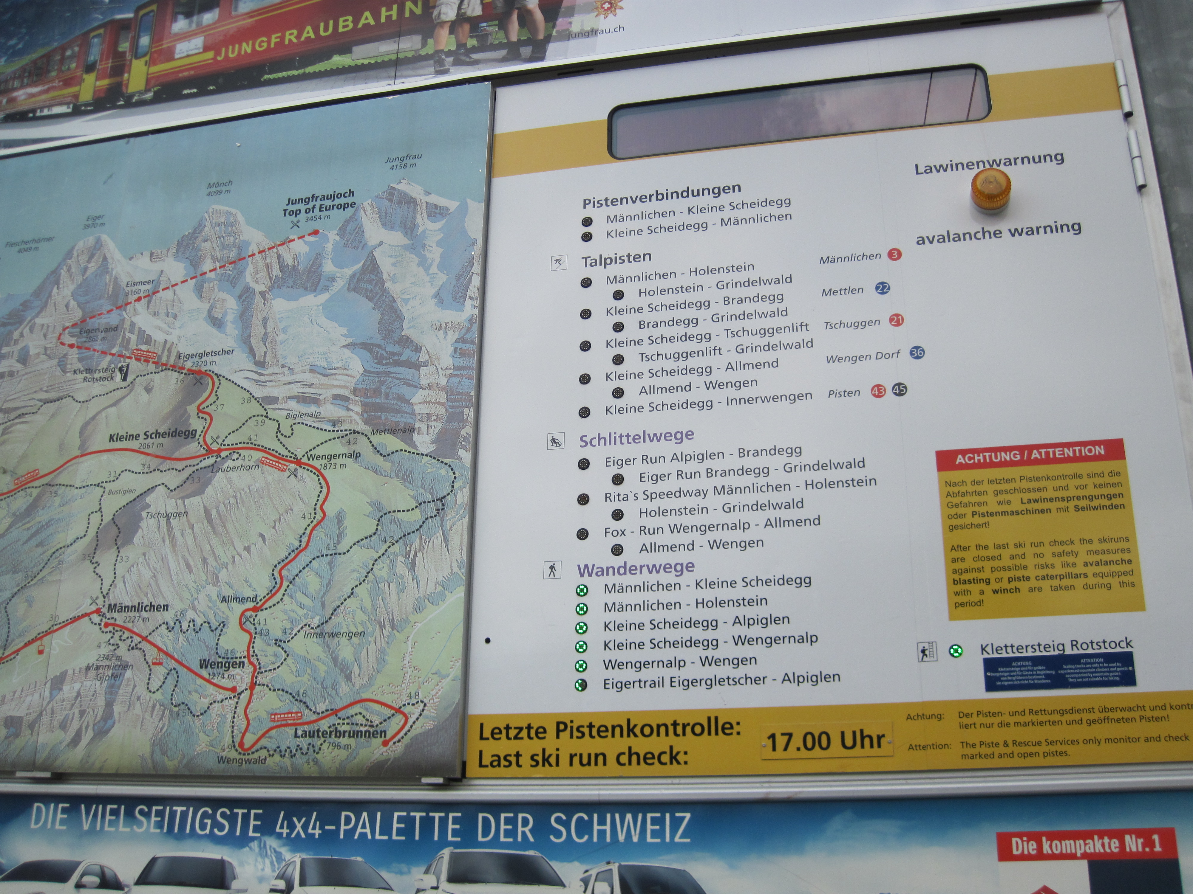 The sign showing the trails around the Eiger and whether they are open. & A Little Bit of the Eiger u2013 the Rotstock Via Ferrata u2013 the Severe ... pezcame.com