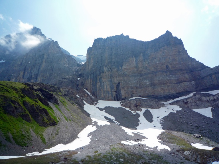 The Eiger Nordwand (left) and the Rotstock.  If you look closely, you can see walkers on the Eiger Trail.