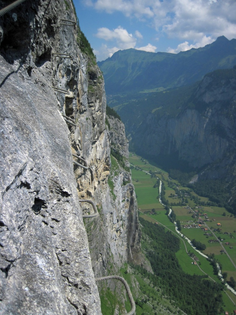 Stemples descending the Lauterbrunnen cliffs and the Lauterbrunnen Valley.