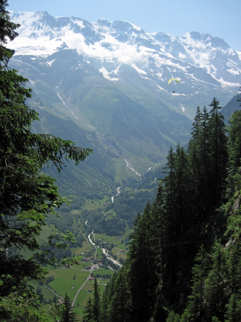 A view from the Murren-Gimmelwald Via Ferrata (including a paraglider).