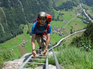 Me on the first section of ladders on the Murren-Gimmelwald Via Ferrata.