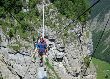 Me on the 80-metre long suspension bridge on the Murren-Gimmelwald Via Ferrata