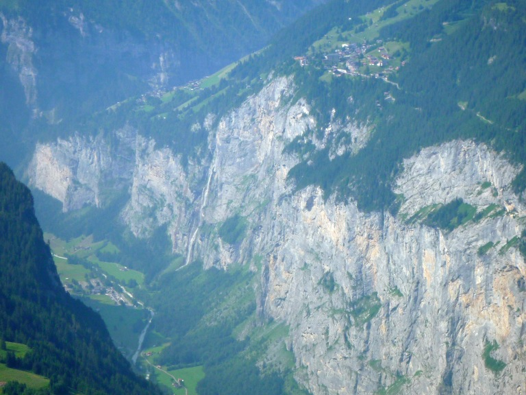 Gimmelwald (on the left) and Murren sitting above the cliffs of the Lauterbrunnen Valley.
