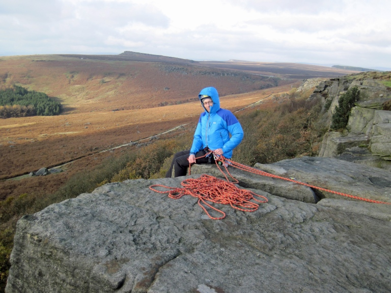 Me sitting at the top of Wobblestone Crack.