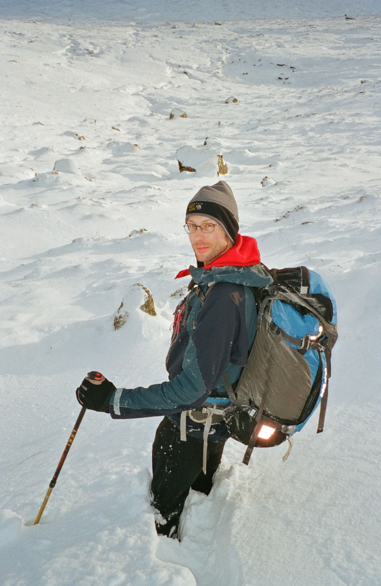 In deep snow (and wearing the Dome Perignon) descending from Chno Dearg.