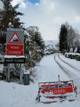 The road up to Kirkstone Pass closed due to heavy January snow.