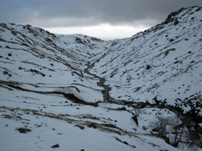 Bright Beck in a snowy Langdales in the Lake District.