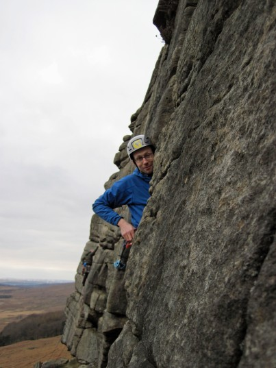 Climbing at Stanage Edge.