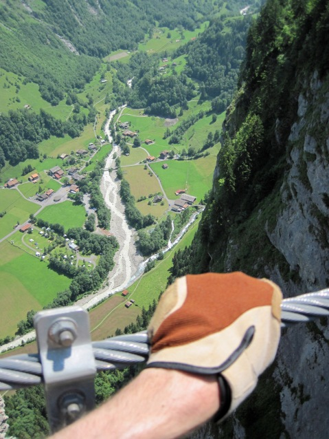 Holding on tight as I cross the 100m bridge on the Murren-Gimmelwald Via Ferrata.