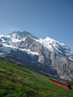 The Jungfraubahn mountain railway and the Jungfrau in Switzerland.
