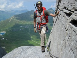 Me on the Rotstock Via Ferrata in Switzerland.