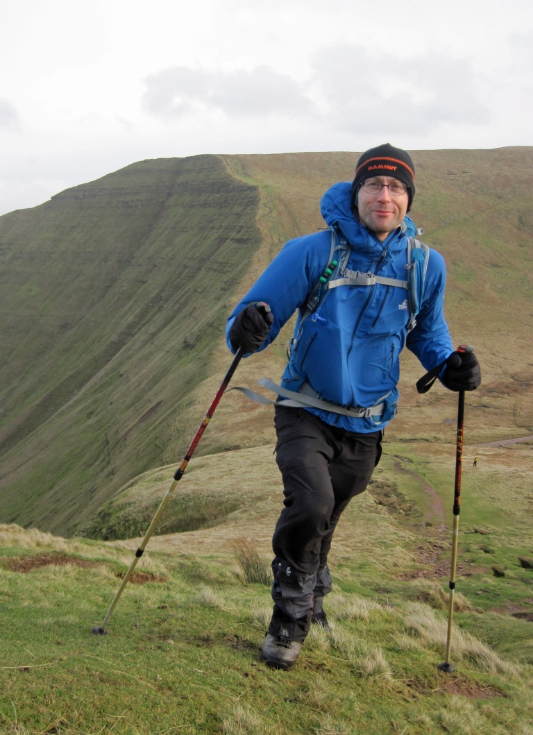 Me on a windy day in the Brecon Beacons wearing the Mammut Eisberg Beanie.