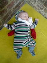 Little Leo came into the world in September and was soon going to the climbing wall (where he found bouldering mats good for napping).
