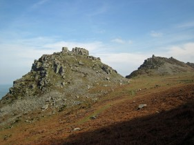 Castle Rock (left) and Rugged Jack (right) in The Valley of the Rocks.