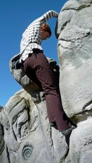 Valerie climbing The Final Boulder.
