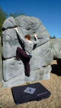 Valerie climbing The Final Boulder at Fairlop Waters Boulder Park
