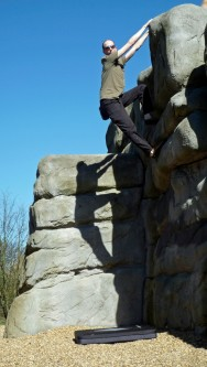 Me climbing The Enormous Roofed Block.