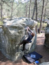 Valerie climbing problem number 1 at Rocher des Potets.
