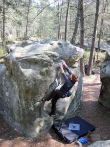 Valerie climbing problem number 1 at Rocher des Potets.