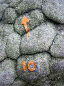 The painted mark and arrow showing the start and direction of orange bouldering problem 10 at Rocher des Potets.
