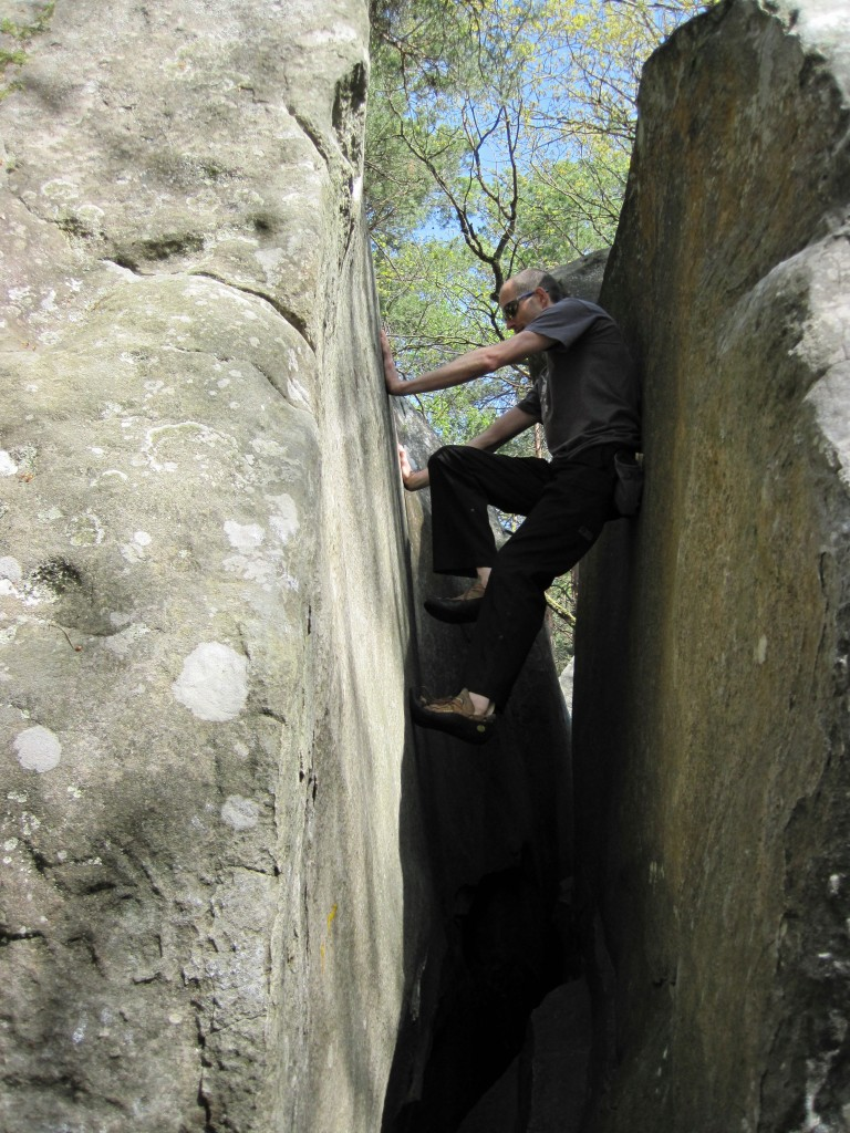 Me climbing a yellow route at Mont Aigu.