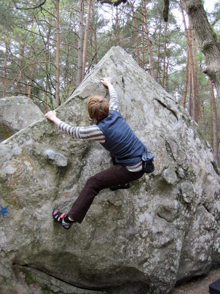 Valerie climbing at Mont Aigu.